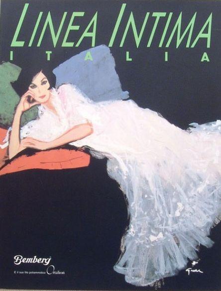 Fashion illustration by René Gruau, 1980s, cover from the Italian lingerie magazine Linea Intima.
