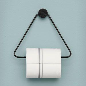 Dérouleur de papier toilette triangle en métal noir Ferm Living