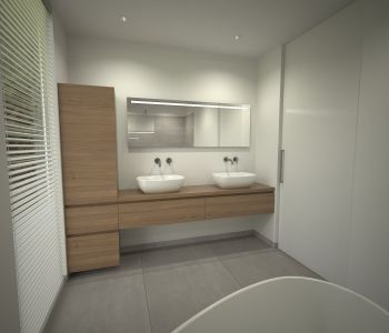 Eiken badkamermeubel met opbouwwastafels