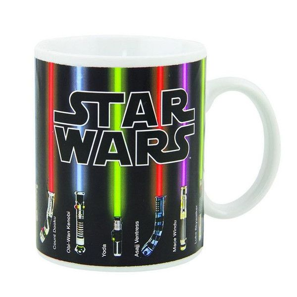 Free Shipping. Heat activated. Just pour a cup and watch the lightsabers glow. Features light sabers of Luke Skywalker, Anakin Skywalker, Obi-Wan Kenobi, Darth Vader, Darth Maul, Yoda, Mace Windu, , Qui-Gon Jinn, Count Dooku, Asajj Ventress, and Kit Fisto. 12 oz 350 ml size Porcelain Ceramic.