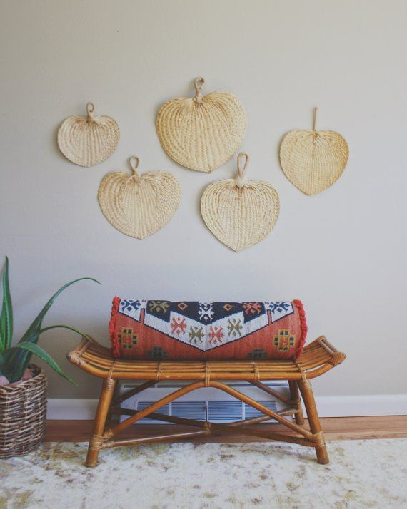 Rattan Fan Wall Art Large Woven Wall Art Palm Leaf Decor Boho Decor Mid Century Tropical Decor Artlovesantiques Woven Wall Baske Tropical Decor Decor Wall Fans