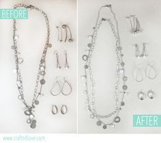 How to clean tarnished jewelry from Crafted Love. A DIY jewelry cleaner gentle enough to do multiple times a year.