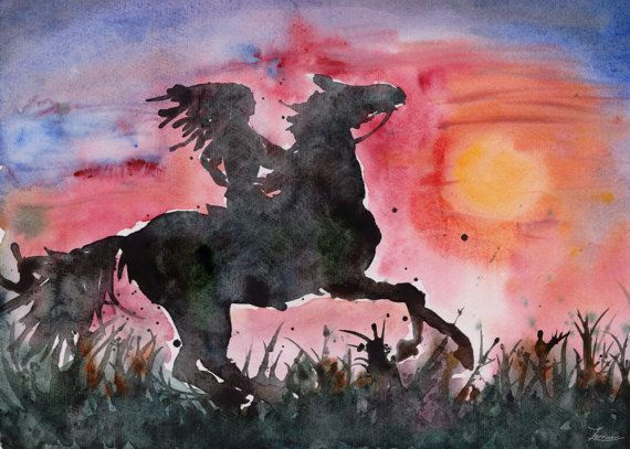 Watercolor hand painting Sunrise black Horse Print. Girl rider and western Sunset. JPG downable and printable. High resolution digital file by ZorrinaArt