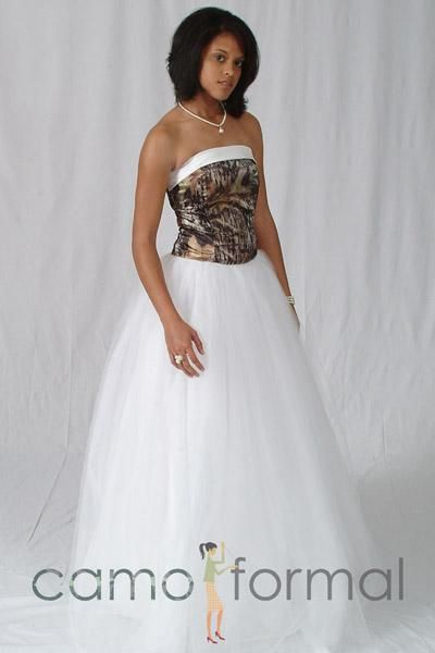 white and camouflage wedding dresses