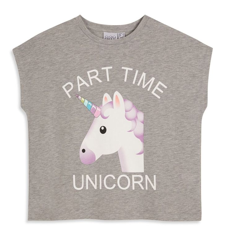 UNICORN EMOJI Ladies T Shirt Primark PART TIME UNICORN Tee Top