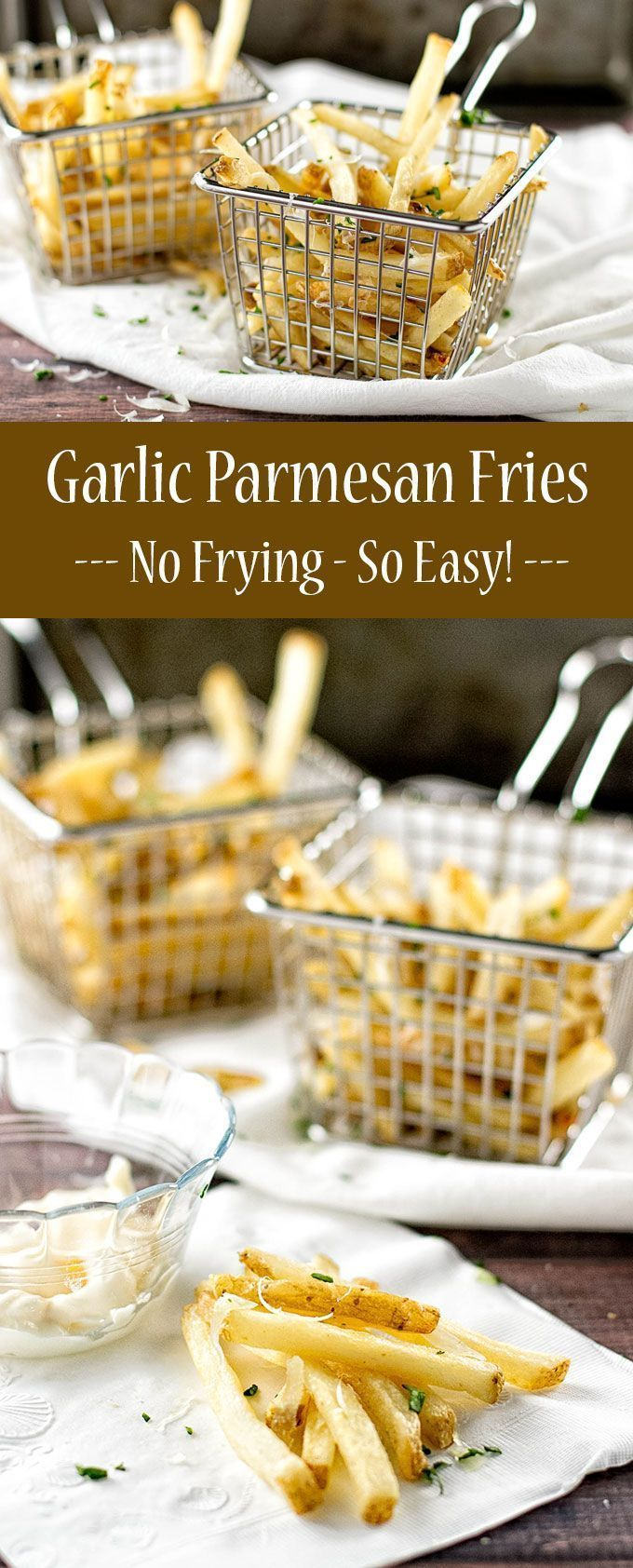 Crispy oven-baked garlic parmesan fries made with frozen french fries! #gamedayrecipes #frenchfries #Potatoes