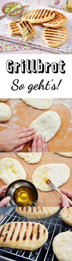 Eine tolle Alternative zu Stockbrot! Grillbrot - Zutaten für 8 Stück: 1 Würfel frische Hefe (42 g) 500 g Mehl 1 Prise Zucker 1 Prise Salz 1 EL weiche Butter Mehl für die Hände Olivenöl zum Bestreichen