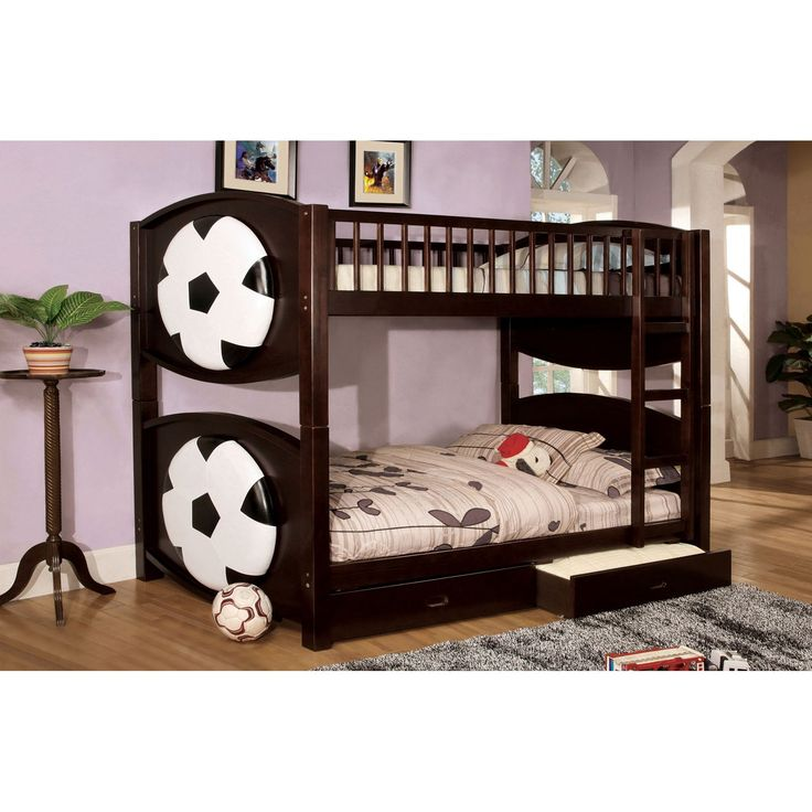 Furniture of America Soccer Twin over Twin Bunk Bed with Storage Drawers - IDF-BK065-SCCR-T