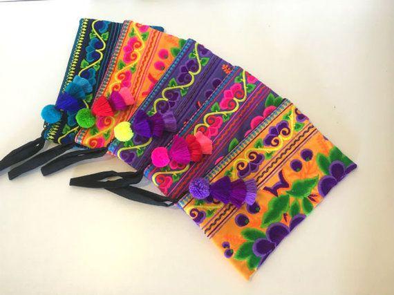 26d7a08faa 10pcs Bohemian Handmade Clutch Bag, Wholesale Tassel Bag, Boho Clutch Purse,  Boho Chic Clutch Bag, Hmong Bag, Colorful Clutch Wristlet