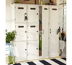Entryway organization ideas family locker pottery barn Hallway lockers for home
