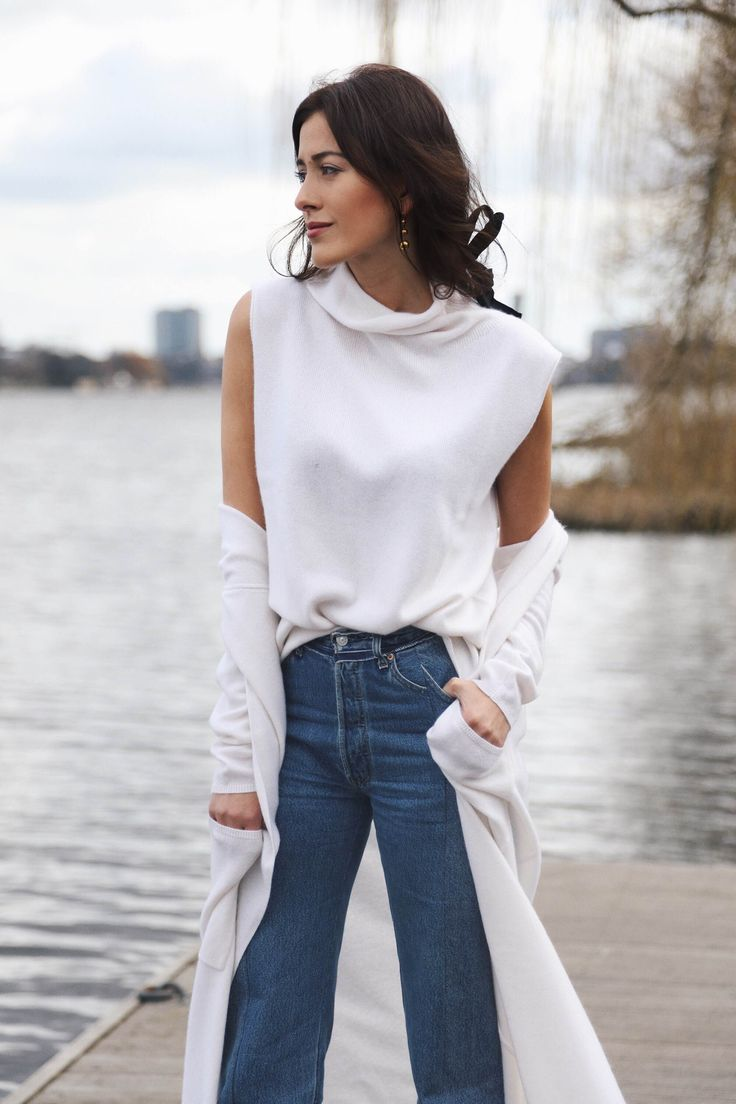 Here's a cashmere white-out that I have been teaming up with my Vêtements, Chanel Slings and Céline earrings. I was also up for a cute bow in my hair.  #Women'sFashion #Jewelryland.com