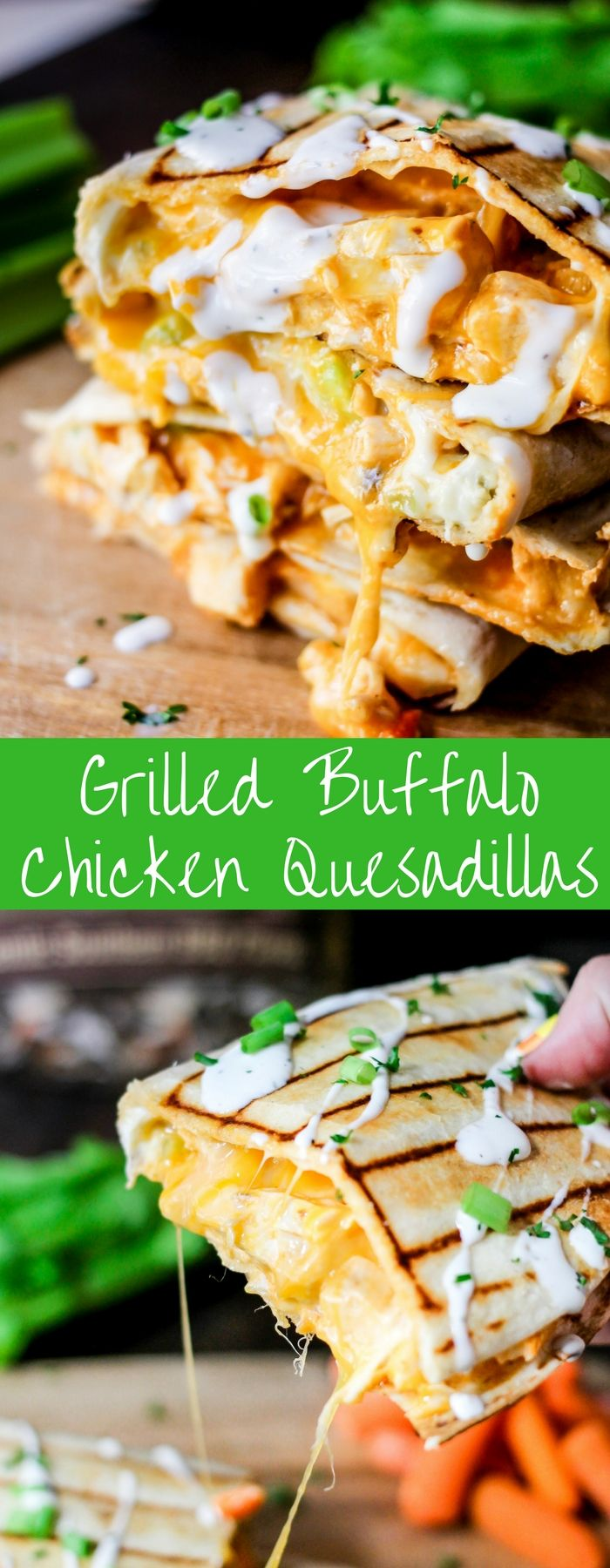 Classic buffalo chicken flavors mixed together and grilled between two crunchy tortillas makes the perfect Grilled Buffalo Chicken Quesadillas. ad @cowboycharcoal