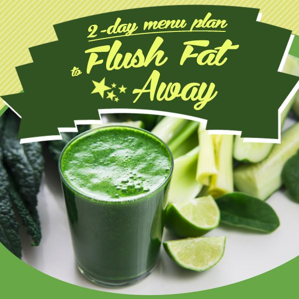 After an indulging holiday, use our 2-Day Menu Plan to Flush the Fat Away! #flushthefataway #weightloss #cleanse #detox