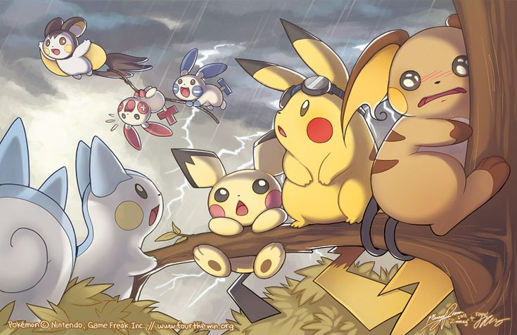 "Aww this is cute. Electric type Pokemon. The Raichu is like, ""I've seen things. Terrible things."" Lol."