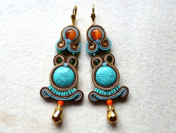 Soutache Earrings Colorful Howlite Elegant Ethno by KCSoutache