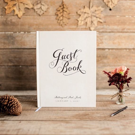 Wedding Guest Book in classic black and white at Starboard Press: http://www.etsy.com/shop/starboardpress