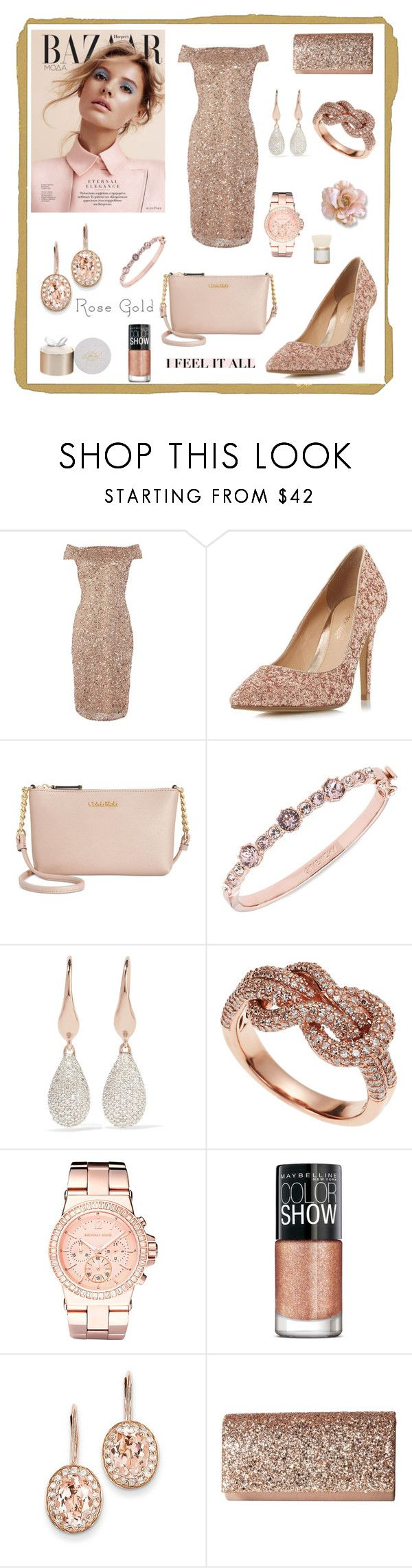 """""""Rose gold Woman"""" by majalina123 ❤ liked on Polyvore featuring Adrianna Papell, Head Over Heels by Dune, Calvin Klein, Givenchy, Monica Vinader, Effy Jewelry, Michael Kors, Maybelline, Kevin Jewelers and Jessica McClintock"""