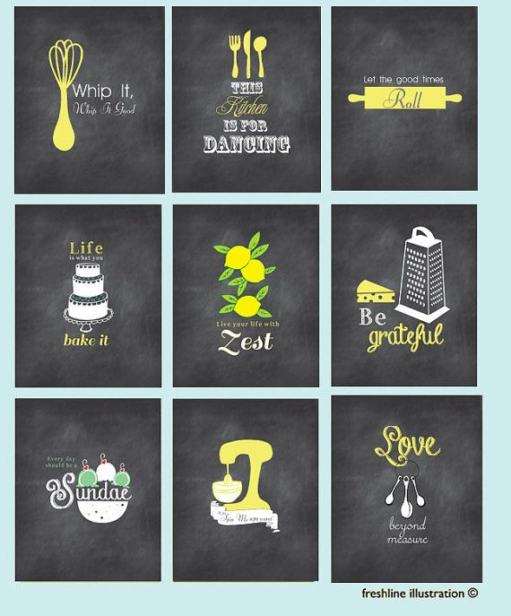 35% off SALE Kitchen Wall Art. Set of nine.8x10 Art Prints. Chalkboard Inspired Art. Mixer, Monogram, Salt and Pepper, Utensils.Funny Kitche, $100.00
