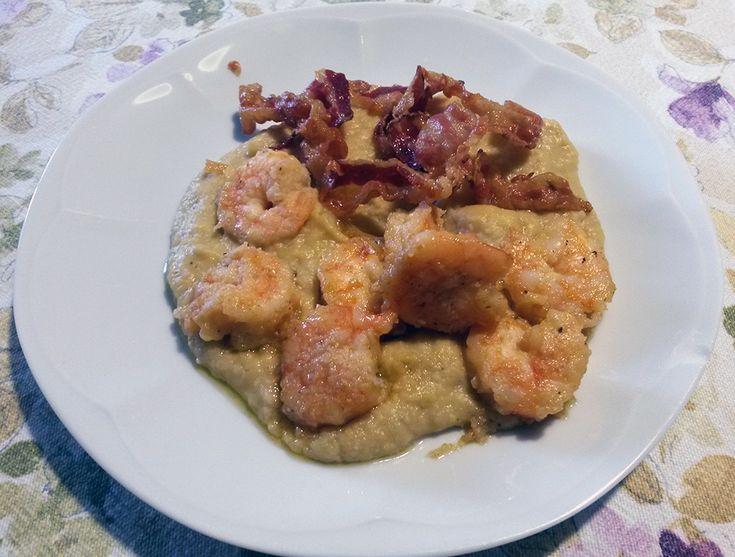 Gamberetti con pancetta croccante su crema di ceci - a cura di Zucchero di Lana, il mio Blog di Cucina con Ricette facili, veloci, e per tutti i gusti!