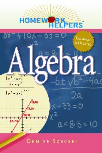 Homework Helpers: Algebra, Revised Edition (Homework Helpers (Career Press)):   Homework Helpers: Algebra is a straightforward and easy-to-read review of arithmetic skills emphasizes the role that arithmetic plays in the development of algebra coversing all of the topics in a typical Algebra I class, including:-+ Solving linear equalities and inequalities-+ Solving systems of linear equations-+ Factoring polynomials-+ Graphing functions-+ Working with rational functions-+ Solving quadr...