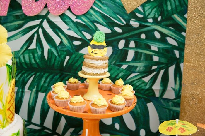 Stacked cookie & cupcakes from a Tropical Flamingo ...