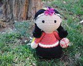 Machi doll - Amigurumi doll, Crochet doll, Stuffed toy, Hand knitted doll, Mapuche doll. Chilean native people