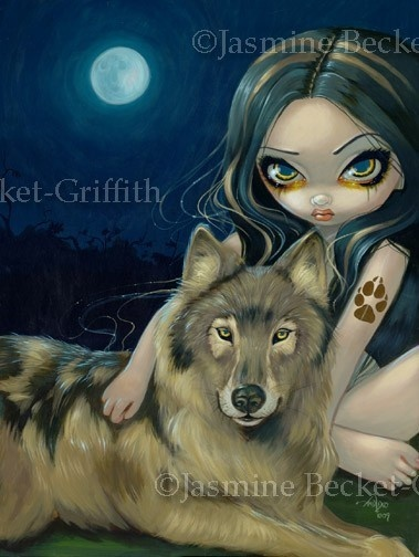 Wolf Moon gothic fairy dog lowbrow big eye by strangeling on Etsy, $13.99