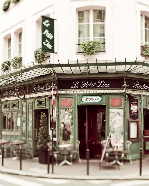 Le Petit Zinc, Paris Print, Cafe Photograph, beige, green, copper, moss, french, wall decor, paris bistro, french cafe