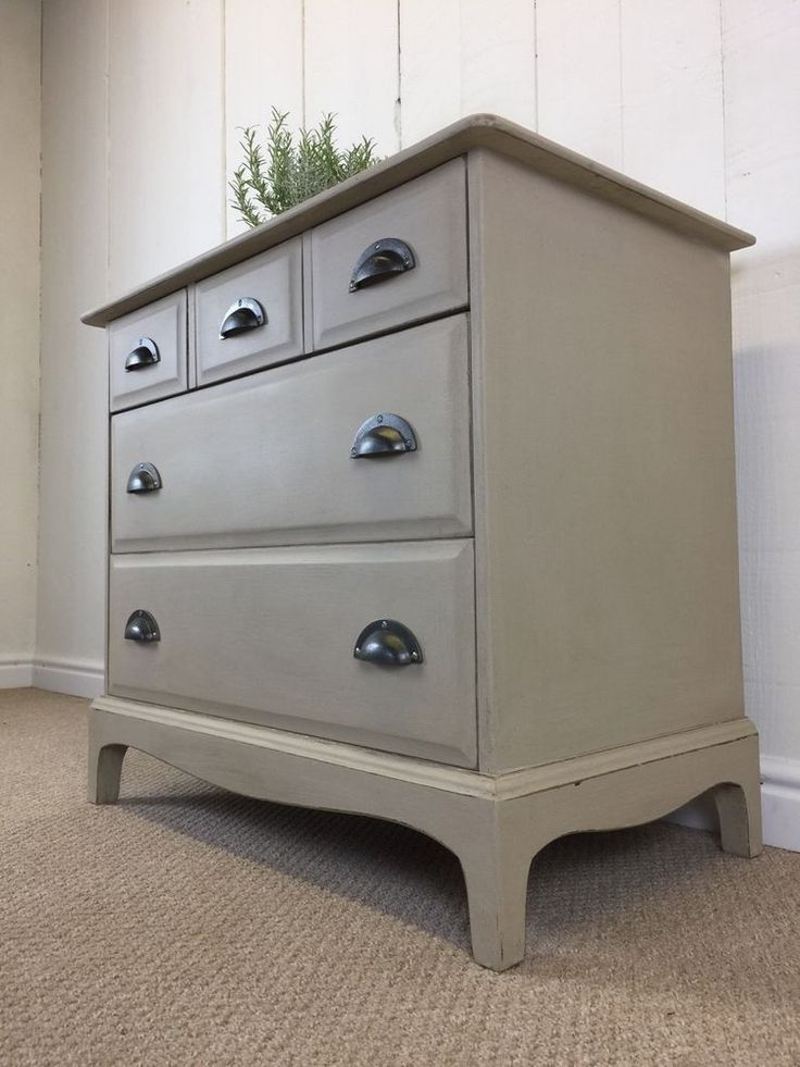 Cream Painted Small Stag Rustic Farmhouse Style Chest of Drawers