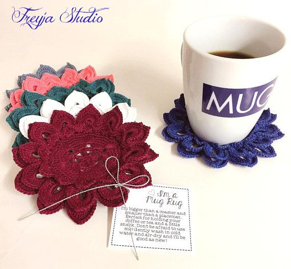 Coffee coasters/Crochet water lily cup coaster/Cotton coasters/Cup mats/Candle mat/Crochet teacup coasters/Coffee cup coaster/Flower mug rug