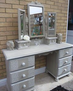 Shabby Chic Dressing Table Cabinet With Mirror Painted Country Grey  White