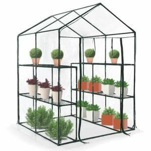 Serre de Balcon/Terrasse/Jardin avec Étagères Bâche Transparente en PVC Structure en Fer