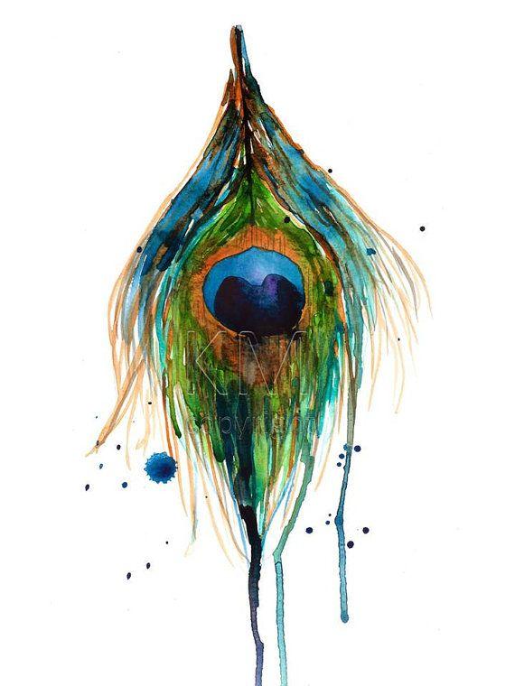 Peacock Feather Print of Original Watercolor by KelseyMDesigns, $15.00