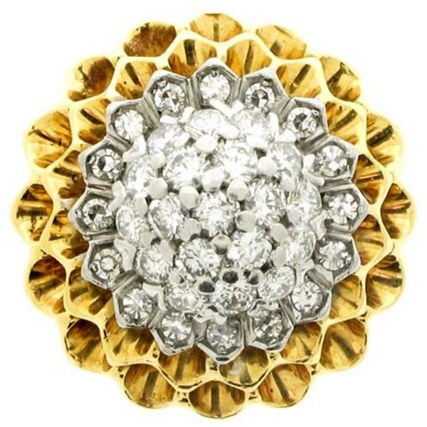 Preowned Tiffany & Co. 1960s Diamond Gold Chrysanthemum Ring ($8,501) ❤ liked on Polyvore featuring jewelry, rings, engagement rings, multiple, gold diamond rings, gold rings, diamond rings, pre owned engagement rings and yellow gold diamond rings
