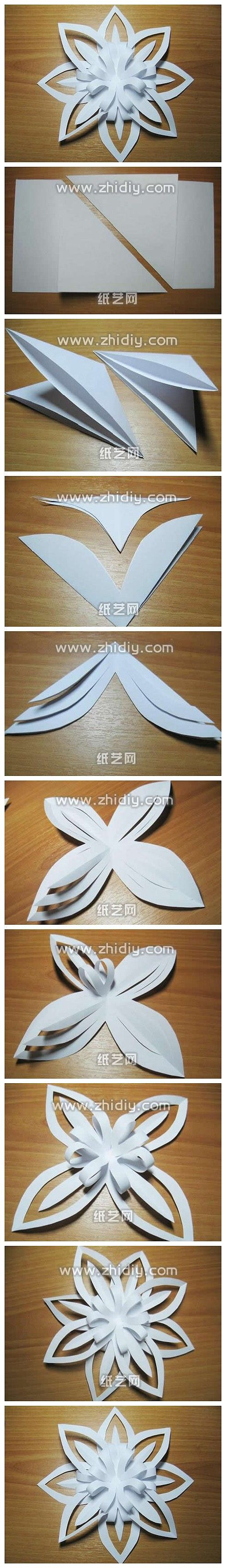 Beautiful paper art of origami fabric handmade DIY tutorial derivative paper snowflake tutorial