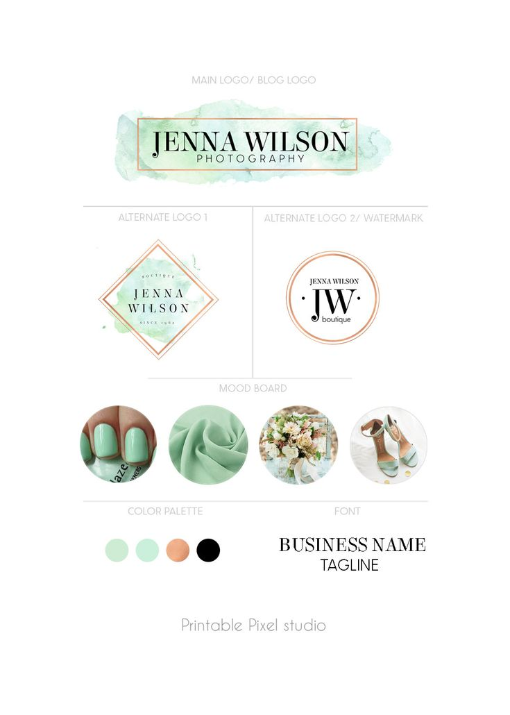 Branding package - Mint green Logo Package - Rose gold Logo - Boutique Logo - Blog Logo - Logo set - Luxury logo - For any business by PrintablePixel on Etsy