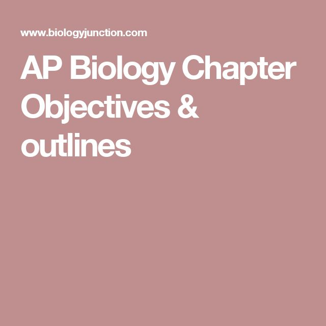 AP Biology Chapter Objectives & outlines
