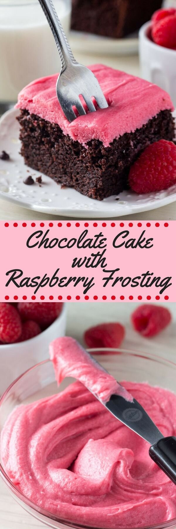 This chocolate cake with raspberry frosting is perfect for Valentine's Day. The soft, moist & super fudgy chocolate cake is to die for. This would be super good with cherry frosting!!!