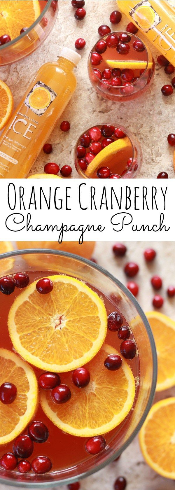 This simple Orange Cranberry Champagne punch will be the perfect addition to any holiday party!