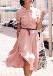 Stylish Turn-Down Collar Short Sleeve High Slit Chiffon Dress For Women