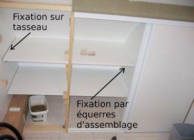 Fixation des étagères avec des équerres d'assemblage ou tasseaux