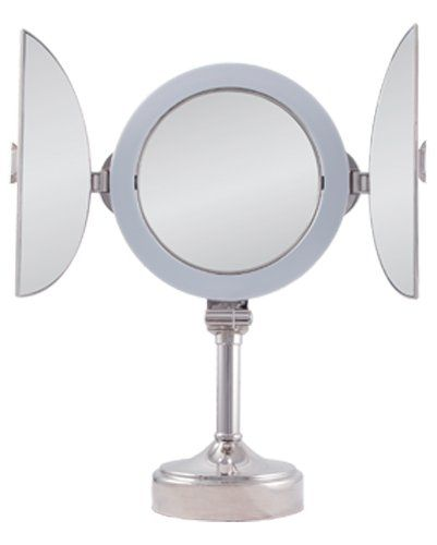 Inspiration Web Design Zadro Polished Nickel Surround Light Dimmable Dual Sided Tri Fold Vanity Mirror X X
