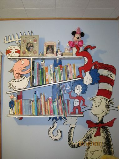 Dr. Seuss cat in the hat book shelves