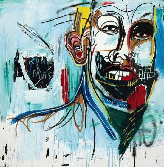 'Untitled', de Basquiat, acrílico y ceras sobre lienzo montando en madera. Esta obra, creada en 1982, se subasta en Sotheby's el 14 de mayo por un precio inicial de tres millones de dólares (2,1 millones de euros). Cortesía: Sotheby's.