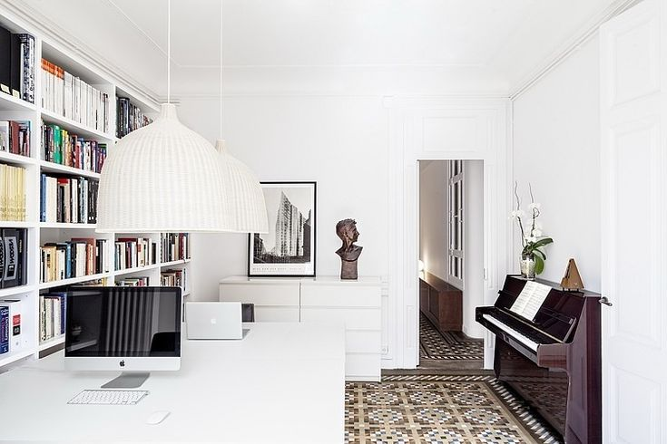Interior, Awesome Eixample Residence Loox  Furnished With Huge Bookcase Behind White Computer Desk Under Bowl Pendant Lights ~ Contemporary Interior Design Classic Style with Bright White Color