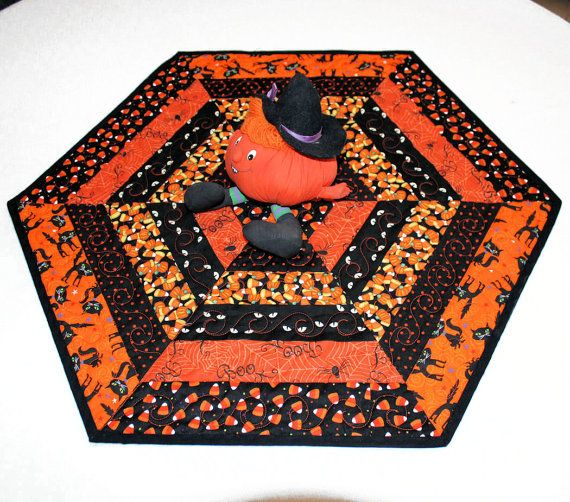 Hexagon Halloween Table Runner Quilt Candle by QuiltSewPieceful, $35.00