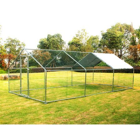 Walk-in Metal Chicken Run Coop Enclosure For Cat Rabbit Ducks Hens-6M X 3M