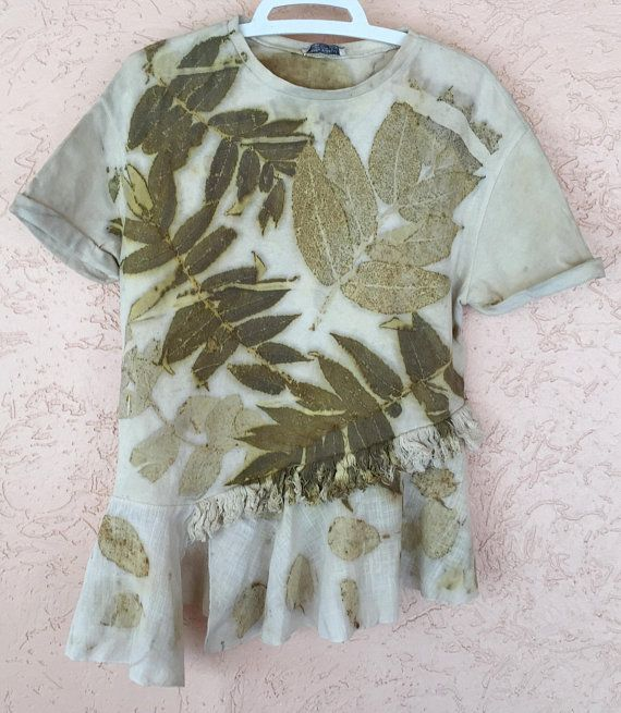 Botanical 100/% Natural Organic Tie Dye Size Small T-Shirt Hand Dyed Yellow Pink Leaf Eco Print Cotton Kids Tee