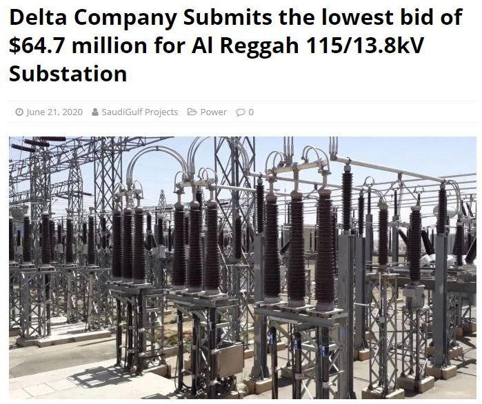 Delta Company Submits The Lowest Bid Of 64 7 Million For Al Reggah 115 13 8kv Substation In Ksa Facilities Maintenance Contract Construction Firm