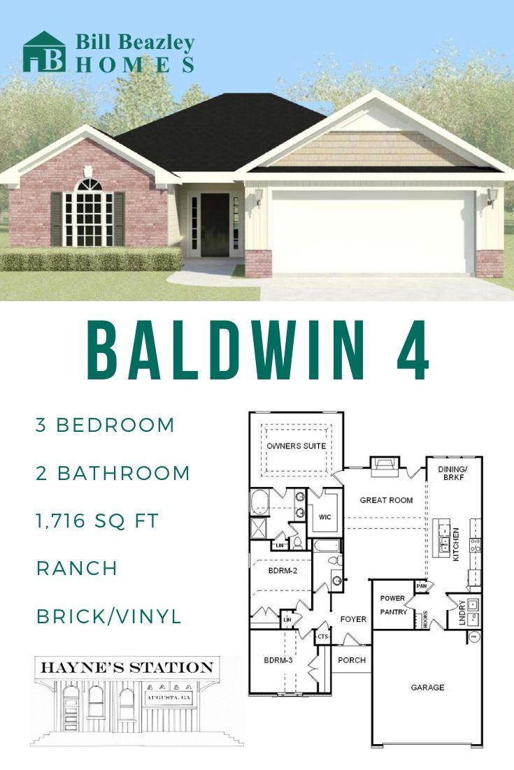 Floorplan One Story Baldwin 4 Hayne S Station Neighborhood Augusta Ga Bill Beazley Homes In 2020 Floor Plans The Neighbourhood House Layouts